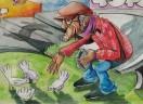 Jesus nos observa dando milho aos pombos