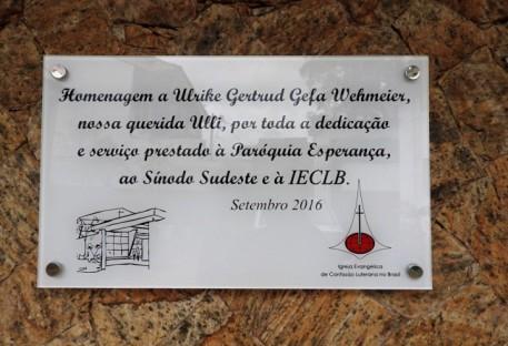 Descerramento de placa em agradecimento e homenagem à Ulrike Wehmeier: Ulli