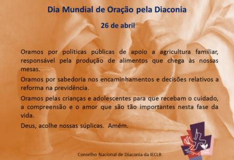 Dia Mundial de Oração pela Diaconia - 26 de abril de 2017