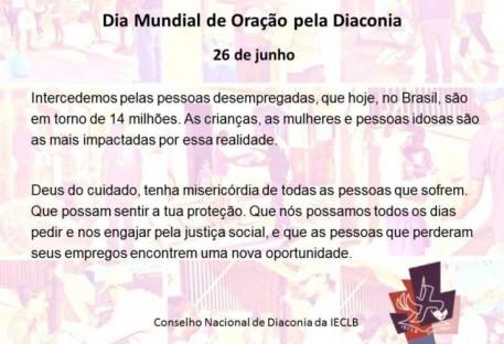 Dia Mundial de Oração pela Diaconia - 26 de junho de 2017
