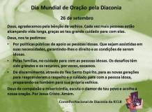 Dia Mundial de Oração pela Diaconia - 26 de setembro de 2017