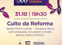 Monumento e Celebração Especial integram calendário blumenauense dos 500 anos da Reforma