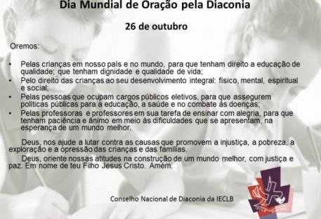 Dia Mundial de Oração pela Diaconia - 26 de outubro de 2017
