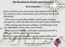 Dia Mundial de Oração pela Diaconia - 26 de dezembro de 2017