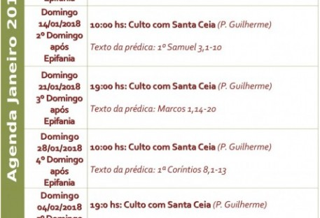 Agenda Janeiro 2018 Igreja Luterana de Santos
