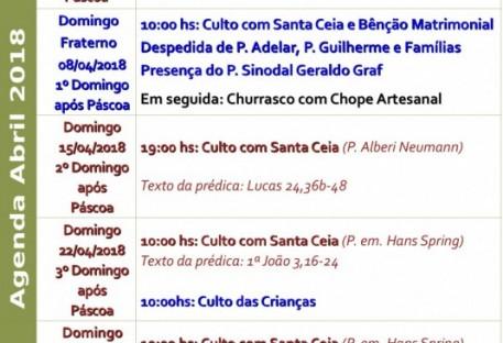 Agenda Igreja Luterana de Santos Abril 2018