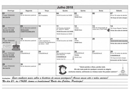 Calendário - Julho
