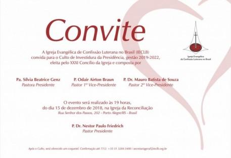 Convite para o Culto de Investidura da Presidência da IECLB