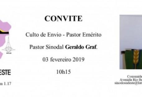 Convite - Culto de Envio para Emérito do Pastor Geraldo Graf