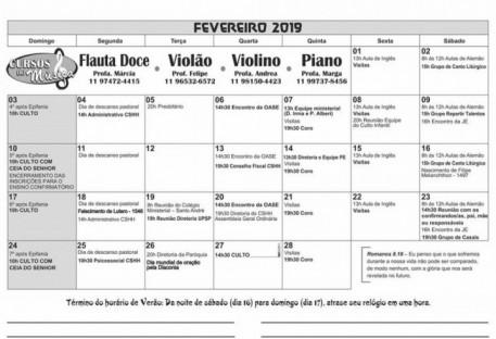 Calendário - FEVEREIRO 2019