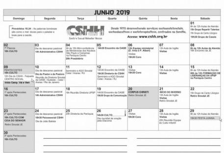 Calendário - JUNHO  2019