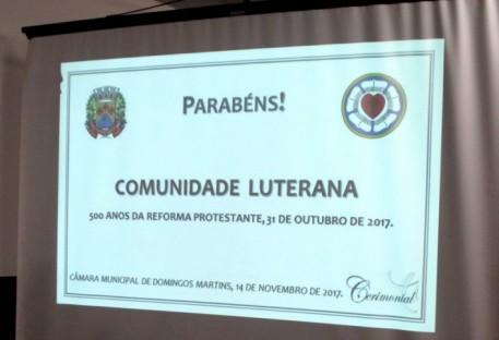 Legislativo de Domingos Martins/ES presta homenagem aos 500 anos da Reforma Protestante