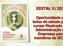Oportunidade de bolsa de estudo para cursar Mestrado em Administração de Empresas para membros da IECLB - Edital V/2018