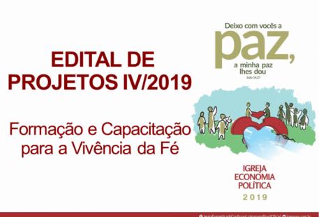 EDITAL DE PROJETOS IV/2019 - Formação e Capacitação para a Vivência da Fé