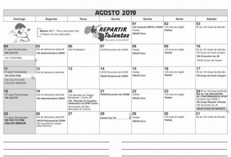 Calendário - AGOSTO 2019