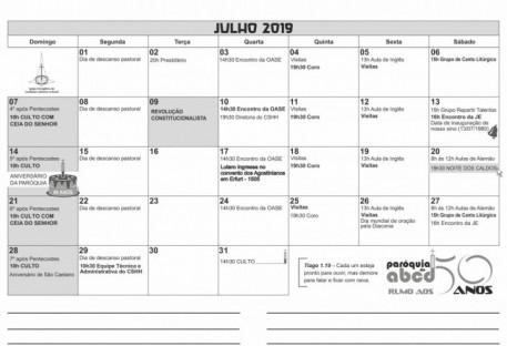 Calendário - JULHO  2019