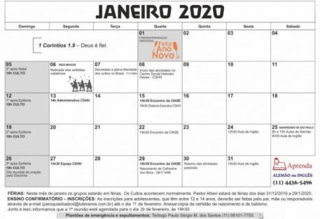 Calendário - JANEIRO 2020