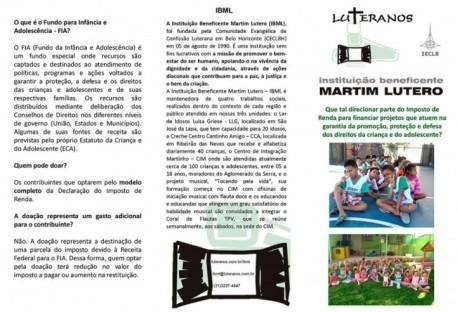 Você pode ajudar a Instituição Beneficente Martim Lutero (IBML)