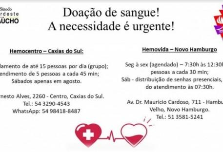 Doação de sangue. Uma necessidade urgente!