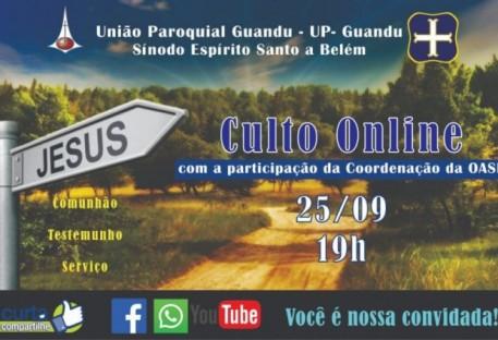 Convite para Culto e seminário Online da OASE